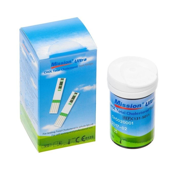 MISSION ULTRA CHOLESTEROL TEST STRIPS 25 szt. - do oznaczania poziomu cholesterolu